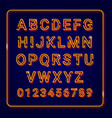 alphabet gold with neon lamp effect vector image vector image
