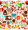 barbecue flat seamless pattern vector image