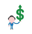 businessman character holding dollar symbol with vector image vector image