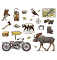 camping equipment set outdoor adventure hiking vector image