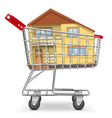 Cart with Cottage vector image vector image