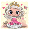 cartoon princess with bird on a yelow background vector image