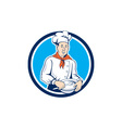 Chef Cook Holding Spoon Bowl Circle Cartoon vector image vector image