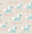 childish seamless pattern with cute horse toy vector image