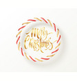 christmas candy striped red golden and white vector image