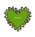 Cityscape heart shape abstract houses sketch for vector image vector image