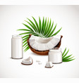 coconut realistic composition vector image