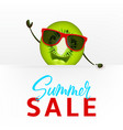 cute kiwi character with white signboard vector image