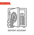 deposit account icon thin line vector image vector image