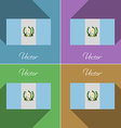 Flags Guatemala Set of colors flat design and long vector image vector image