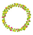 floral circle isolated with red berries and yellow vector image vector image