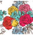 floral seamless pattern with colorful roses vector image vector image