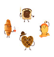 funny breakfast characters with smiling faces vector image vector image