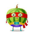 funny superhero humanized watermelon in a red mask vector image vector image