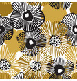 hand drawn black and golden daisy flowers vector image