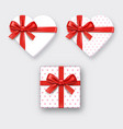heart shaped gift box with ribbon vector image vector image