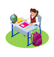 isometric education concept girl makes a homework vector image