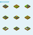 isometric road set of cracks way navigation and vector image vector image