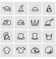 line helmet and hat icon set vector image