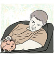 man and puppy vector image