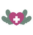 medical heart cross herbal leaf isolated icon vector image