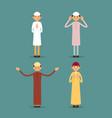 muslim praying set muslim or arab men stand and vector image