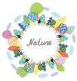 Nature frame with trees and plants vector image vector image