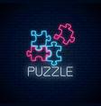 neon puzzle pieces solve puzzle game glowing neon vector image
