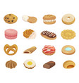 pastry desserts flat color vector image vector image