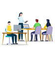 people online learning with pc in office vector image