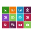 Photographs and Camera icons on color background vector image