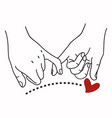 pinky promise outline with red heart sign vector image vector image