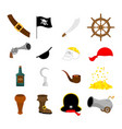 pirate set icon flag and saber piratical hat and vector image