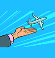 plane takes off from his hands flight travel vector image vector image