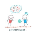 psychotherapist gives the patient a pill vector image vector image
