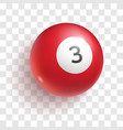 red billiard ball with number three vector image