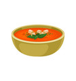 refreshing gazpacho soup in ceramic bowl vector image