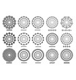 set 15 brushs patterns in a circle line black vector image vector image