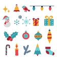 set merry christmas and happy new year icons vector image vector image