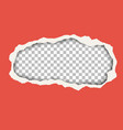 snatched hole in red paper sheet vector image vector image