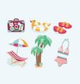 summer beach set icons vector image