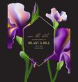 watercolor irises invitation card elegant wedding vector image vector image