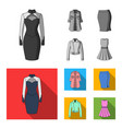 women clothing monochromeflat icons in set vector image vector image