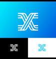 x letter monogram web ui network lines vector image vector image