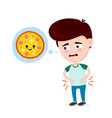young suffering sad man is hungry vector image vector image
