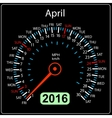 2016 year calendar speedometer car April vector image vector image