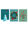 a collection three new year cards with a bird vector image