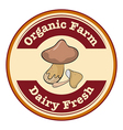 A round organic farm and dairy fresh logo with a vector image vector image