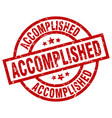 accomplished round red grunge stamp vector image vector image