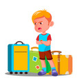angry little boy is crying near travel bags vector image